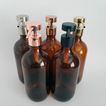 Deluxe stainless steel and glass soap or lotion dispensers.  Perfect for DIY recipes these bottles are an attractive addition to any bathroom or kitchen.