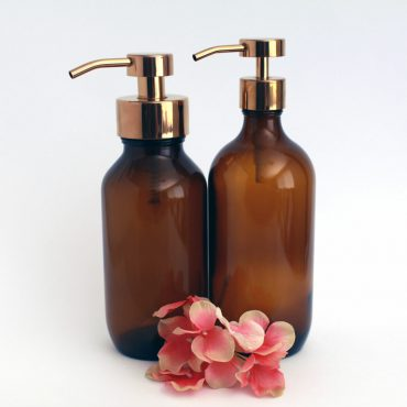 Deluxe stainless steel and glass foaming soap dispensers inCopper.  Perfect for DIY foaming soap recipes these foaming soap bottles are an attractive addition to any bathroom or kitchen.
