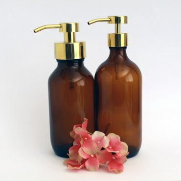 Deluxe stainless steel and glass foaming soap dispensers in Gold.  Perfect for DIY foaming soap recipes these foaming soap bottles are an attractive addition to any bathroom or kitchen.