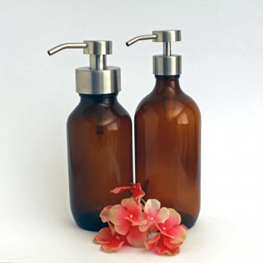 Deluxe stainless steel and glass foaming soap dispensers in Brushed Silver.  Perfect for DIY foaming soap recipes these foaming soap bottles are an attractive addition to any bathroom or kitchen.