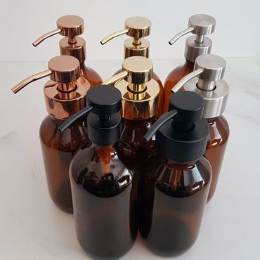 Deluxe stainless steel and glass foaming soap dispensers.  Perfect for DIY foaming soap recipes these foaming soap bottles are an attractive addition to any bathroom or kitchen.