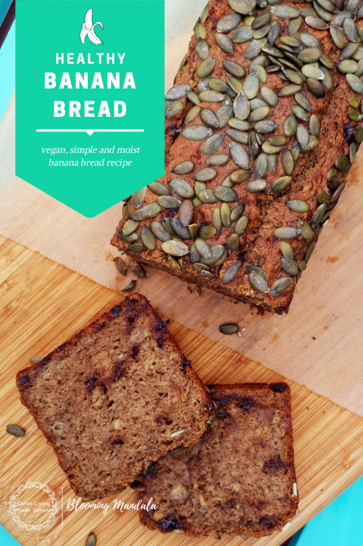This easy banana bread recipe is vegan, healthy and oh so moist.  A simple banana bread recipe that can be tweaked to add chocolate chips, nuts or seeds giving you that most delicious loaf of banana bread